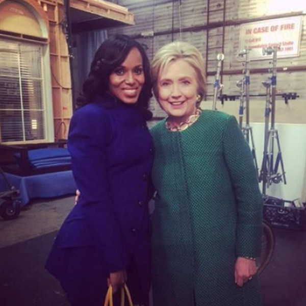 Hillary Clinton Visits the set of Scandal